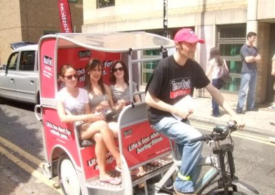 Time Out Magazine London Outdoor Media Campaign with pedicab