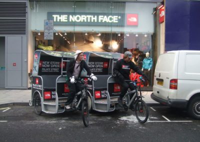 North Face Outdoor Media Marketing London with pedicab